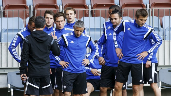 Luxembourg's national team players attend a training session in Borisov