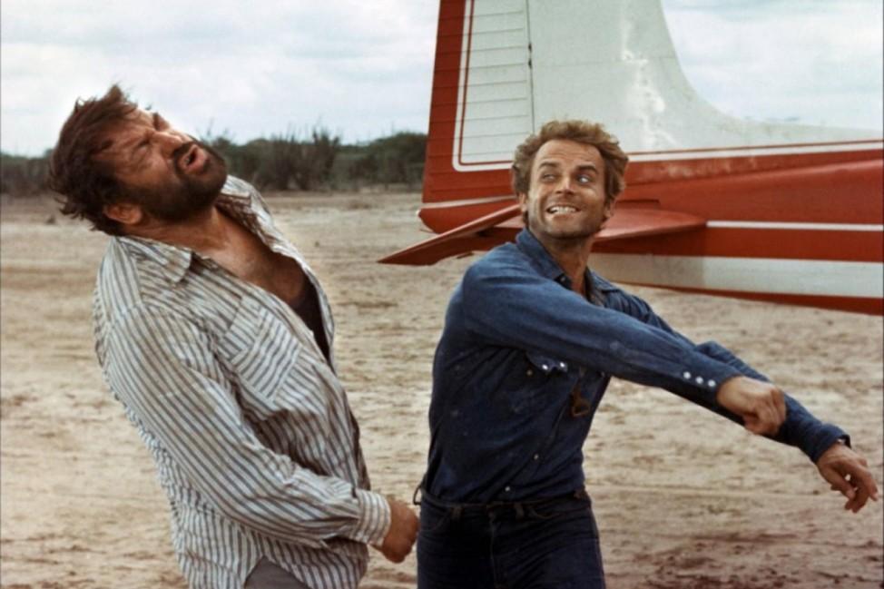"""Bud Spencer und Terence Hill bei den Dreharbeiten zum Film """"Zwei Himmelhunde auf dem Weg zur Hölle"""""""