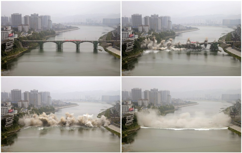 A combination picture shows the Lishui bridge collapsing during a controlled demolition in Zhangjiajie