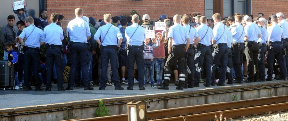 Flüchtlinge am Bahnhof Padborg