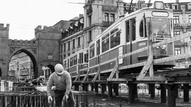 Baustelle am Stachus in München, 1967