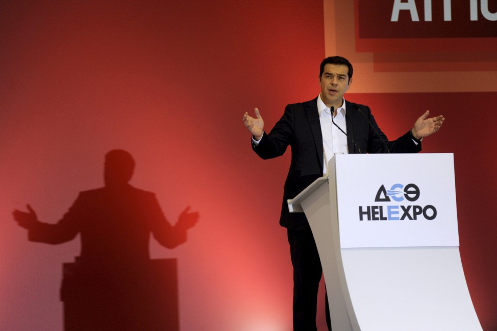 Former Greek PM and leader of leftist Syriza party Tsipras delivers speech during annual International Trade Fair of the northern city of Thessaloniki