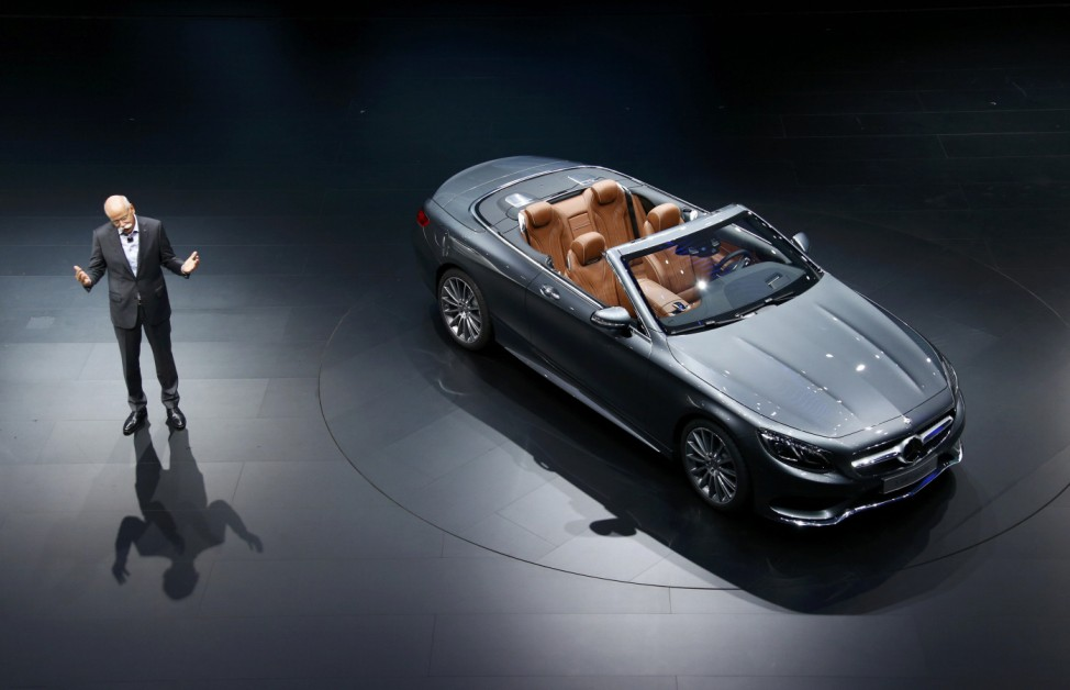 Daimler CEO Zetsche presents the Mercedes-Benz S 500 cabrio car during the media day at the Frankfurt Motor Show (IAA) in Frankfurt