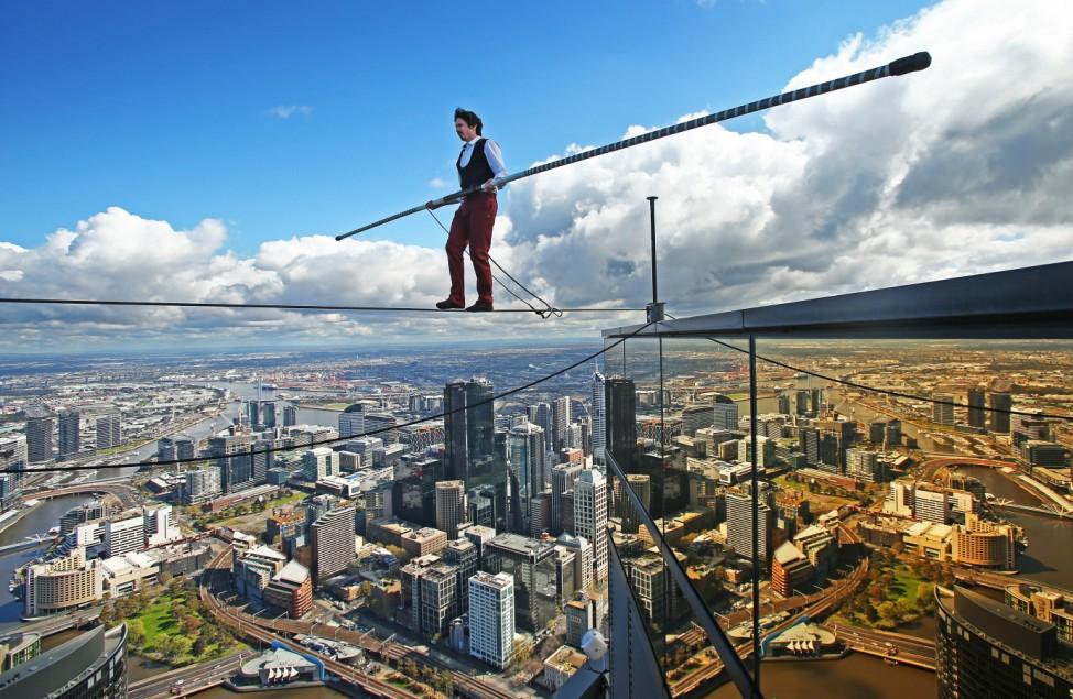 BESTPIX - High-wire Artist Kane Petersen Performs Tightrope Walk Over Melbourne CBD