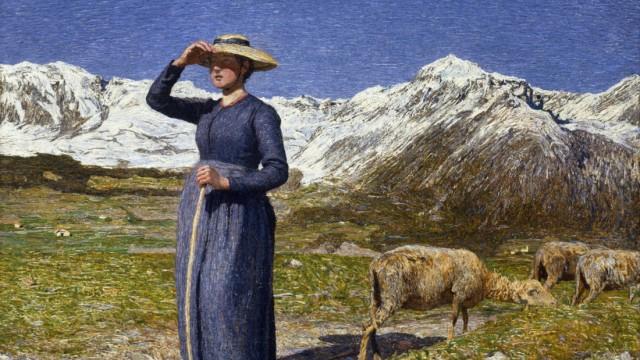 Midi dans les Alpes Une bergere se protegeant les yeux du soleil Peinture de Giovanni Segantini 1