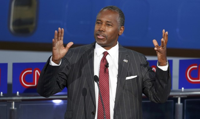 Republican U.S. presidential candidate Dr. Ben Carson speaks during the second official Republican presidential candidates debate of the 2016 U.S. presidential campaign at the Ronald Reagan Presidential Library in Simi Valley