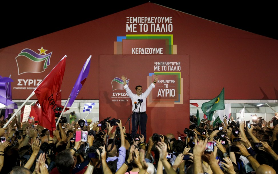 Former Greek prime minister and leader of leftist Syriza party Alexis Tsipras addresses supporters after winning general election in Athens