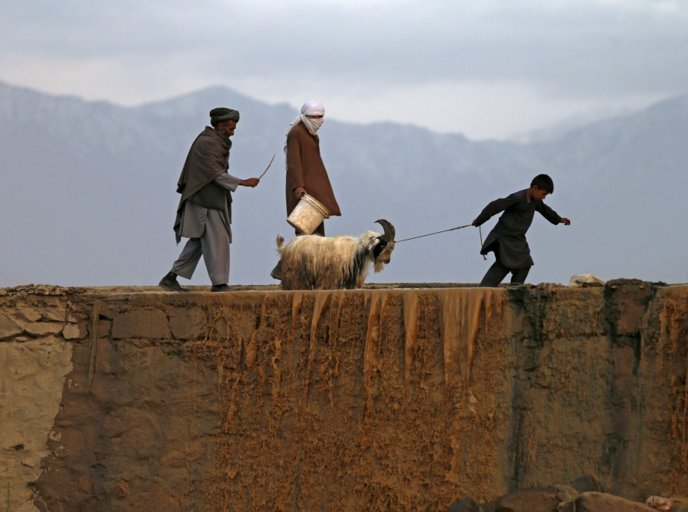 A boy pulls a rope attached to the neck of a goat at a livestock market in Kabul, Afghanistan
