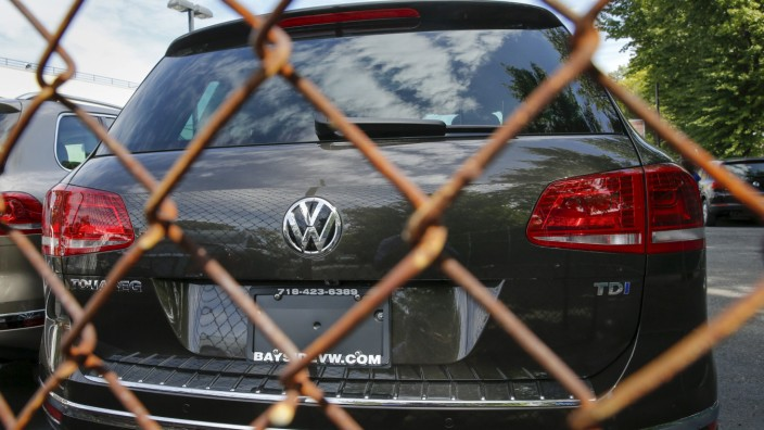 A Volkswagen 2016 Touareg TDI is seen at a VW dealership in the Queens borough of New York