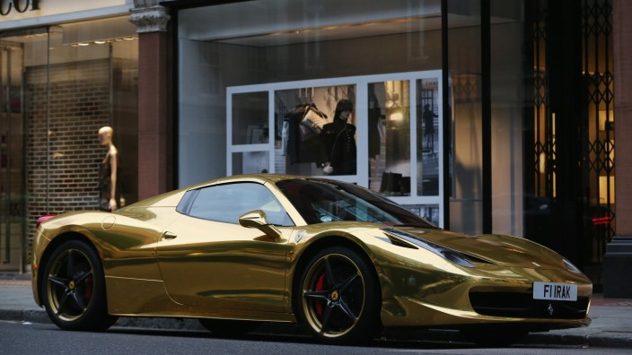 Luxuary Cars On Display Amidst Foreign Wealth In Knightsbridge