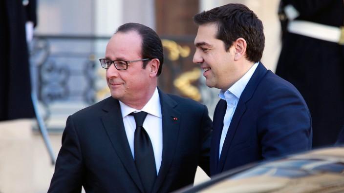 Hollande und Tsipras: Frankreichs Staatschef Hollande mit dem griechischen Ministerpräsidenten Tsipras im Februar in Paris.