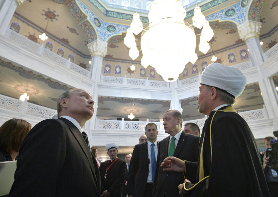 Putin and Erdogan make a tour inside the Moscow Grand Mosque in Moscow