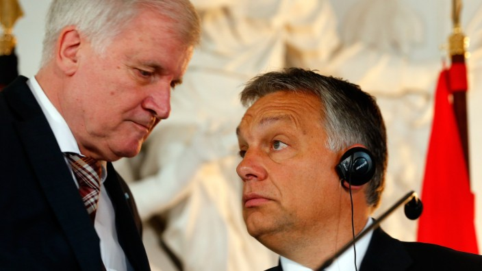 Hungarian PM Orban and Bavarian state premier Seehofer address a news conference after a CSU party event in Kloster Banz near Bad Staffelstein
