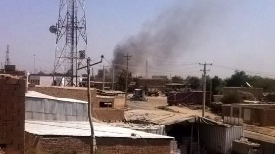 Taliban greifen Kundus an, Rauch über einer Polizeistation