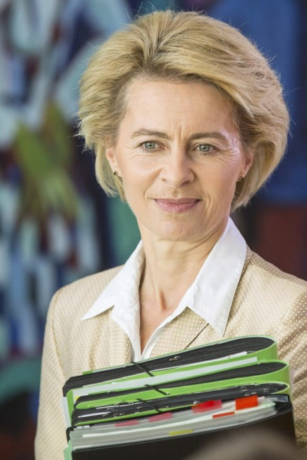 German Defence Minister Leyen attends a cabinet meeting at the Chancellery in Berlin