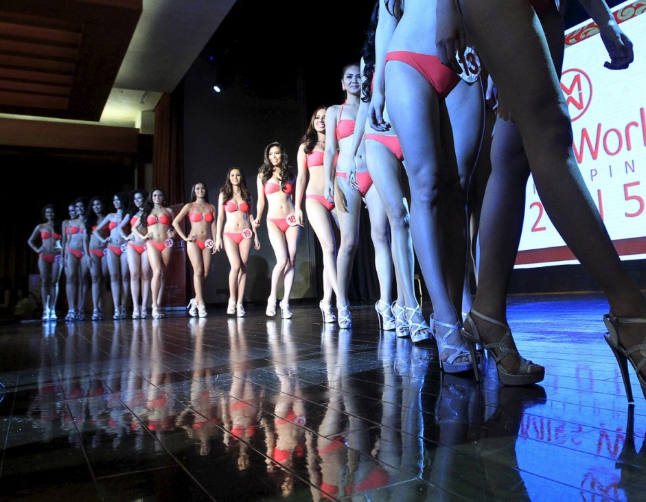 Contestants participate in the press presentation of the Miss World Philippines 2015 pageant at the Solaire Resort and Casino in Paranaque city
