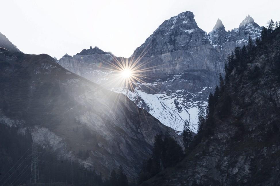 Sun shines through Martinsloch in Switzerland