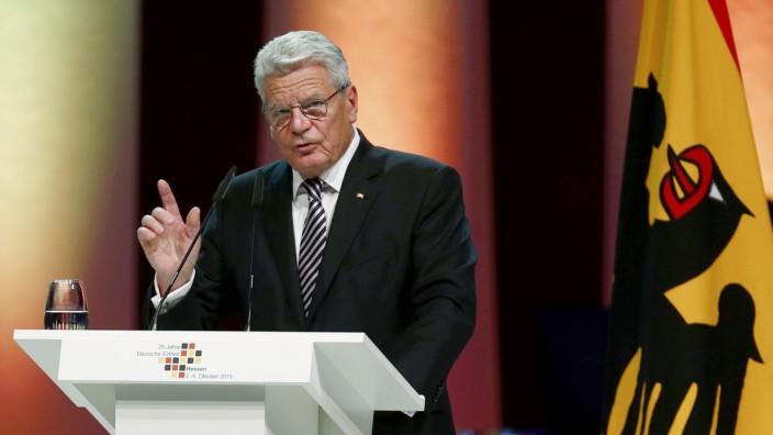 Gauck zur Deutschen Einheit: Integration braucht Zeit: Joachim Gauck spricht zum Tag der Deutschen Einheit in Frankfurt.