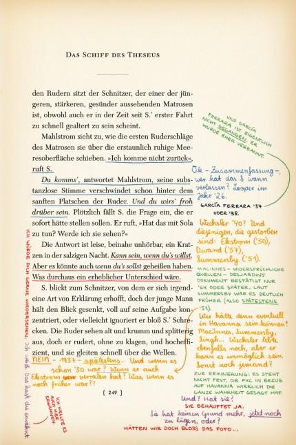 """Interaktives Erzählprojekt: Eine der beschriebenen Seiten aus """"Das Schiff des Theseus"""". Abbildungen: aus dem besprochenen Band"""