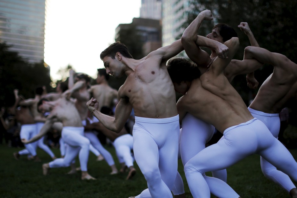 Dancers from Boston Ballet perform a portion of 'Third Symphony of Gustav Mahler: A Ballet by John Neumeier' on the Greenway to promote their upcoming season in Boston