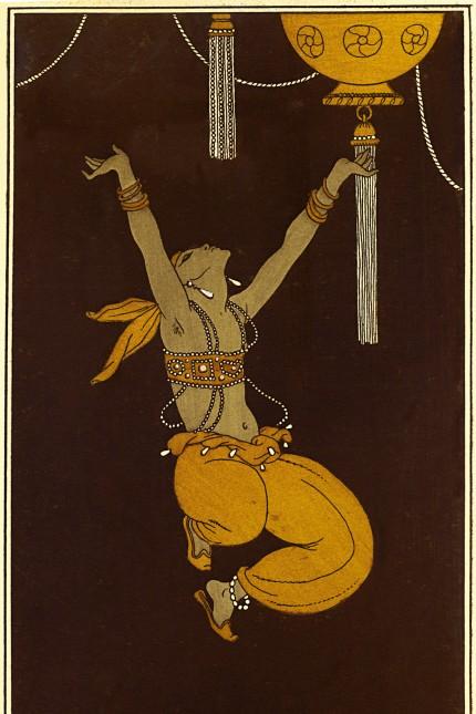 """Rechtsphilosophie: Nijinsky, der Star der Ballets Russes, in der Rolle eines schwarzen Sklaven in """"Scheherazade"""", gezeichnet von Georges Barbier (Ausschnitt)."""