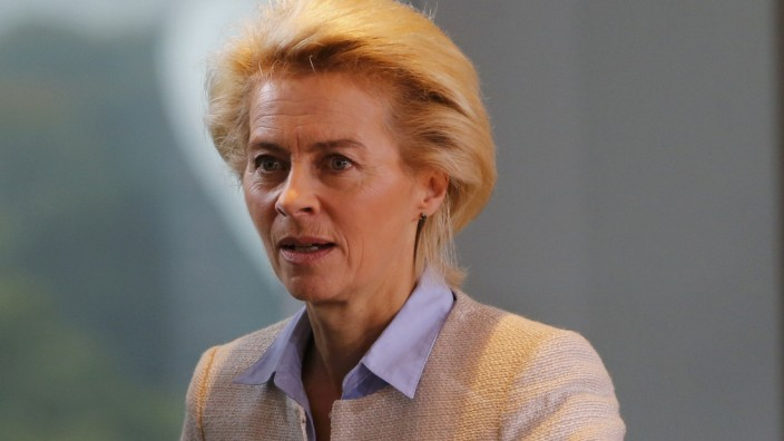 German Minister of Defence von der Leyen arrives for the weekly cabinet meeting at the Chancellery in Berlin