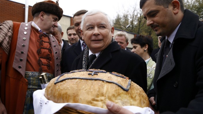 Poland's main opposition party Law and Justice's leader Kaczynski meets with citizens of Brzeziny