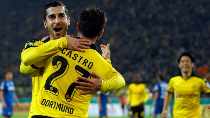 Dortmund's Castro celebrates after he scored against SC Paderborn during their German Cup (DFB Pokal) second round soccer match in Dortmund