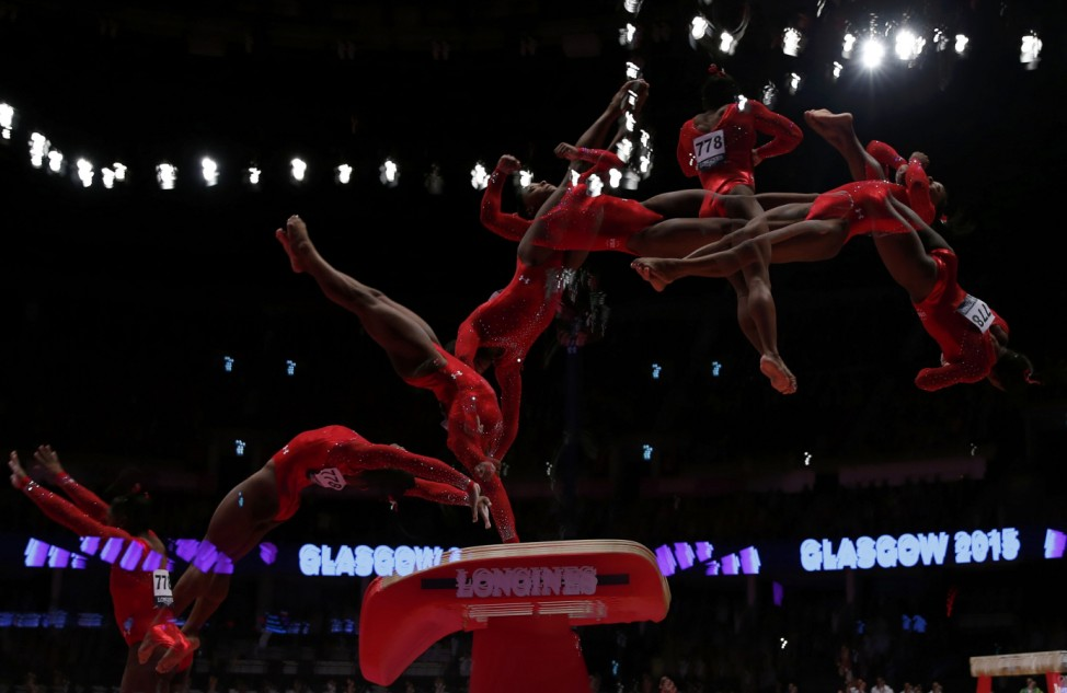 Simone Biles of the U.S competes on the vault during the women's all-round final at the World Gymnastics Championships in Glasgow