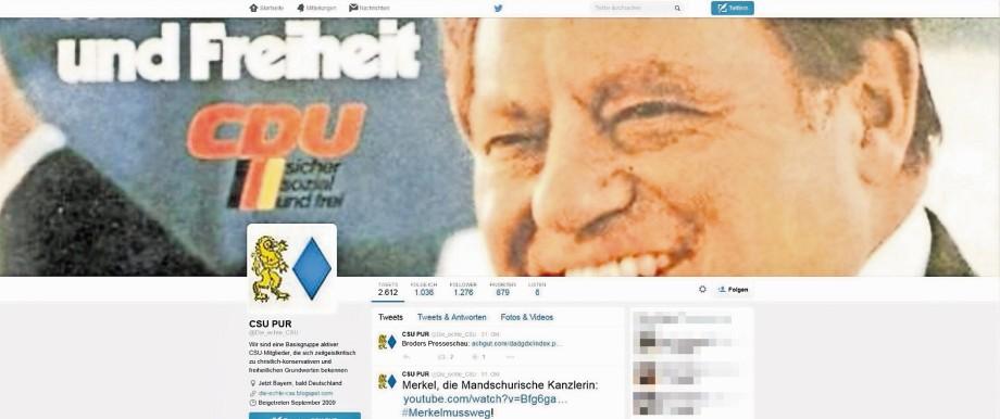 """Anonyme Hetzbotschaften: Bayerischer Löwe, blaue Raute, Franz Josef Strauß - der Twitter-Account """"CSU Pur"""" sieht ganz schön offiziell aus. Ist er aber nicht."""
