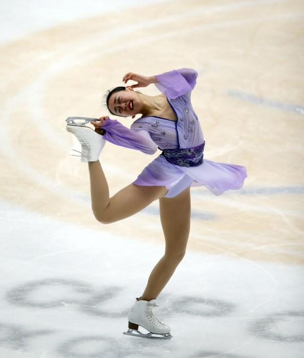 Asada of Japan competes at the ladies free skating program during China ISU Grand Prix of Figure Skating in Beijing,