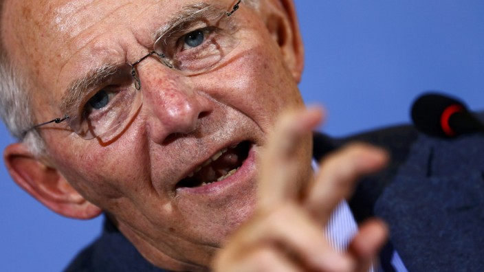 German Finance Minister Schaeuble addresses a news conference on German government's estimated tax revenues in 2016, in Berlin