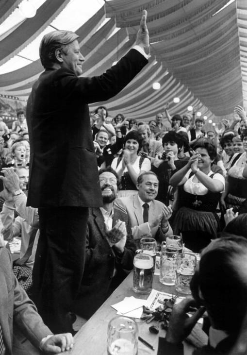 Helmut Schmidt auf einer Wahlkampfveranstaltung in Kempten, 1980