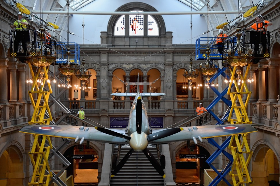Hanging Spitfire Exhibit Lowered To The Ground For Conservation Checks
