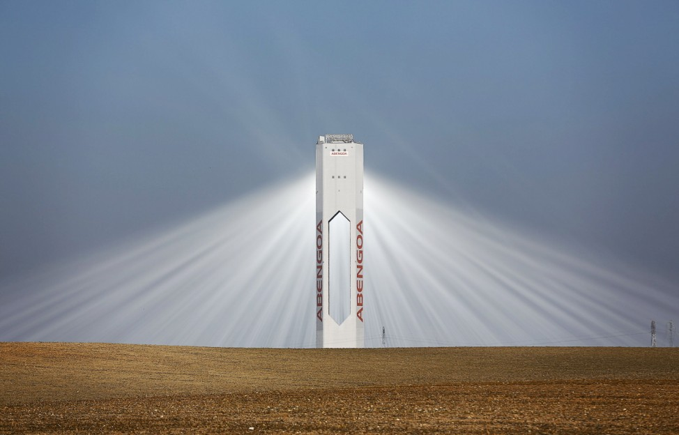 A tower of Abengoa solar plant at 'Solucar' solar park is seen in Sanlucar la Mayor, near Seville, southern Spain