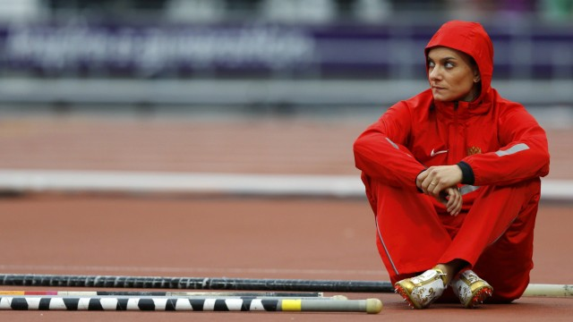 Russia's Yelena Isinbayeva rests before the women's pole vault final at the London 2012 Olympic Games