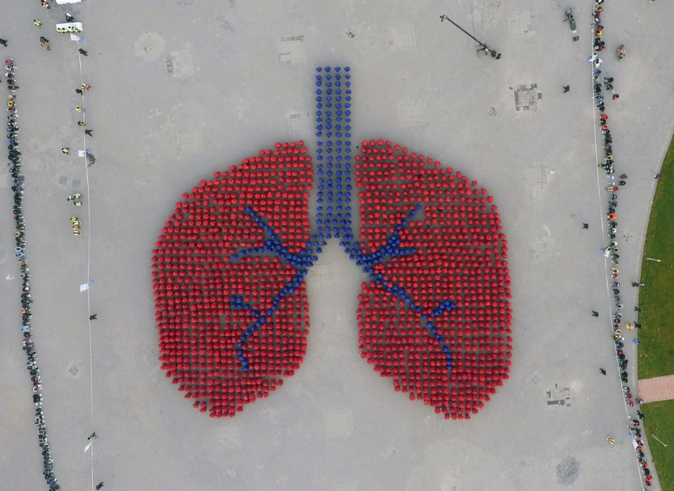 An aerial view shows participants wearing blue and red coats forming an image depicting a human lung, during an Guinness World Record attempt of the largest human image of an organ, on a hazy day in Beijing