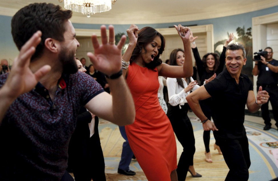 Michelle Obama dances the Conga while hosting a  Broadway workshop in Washington