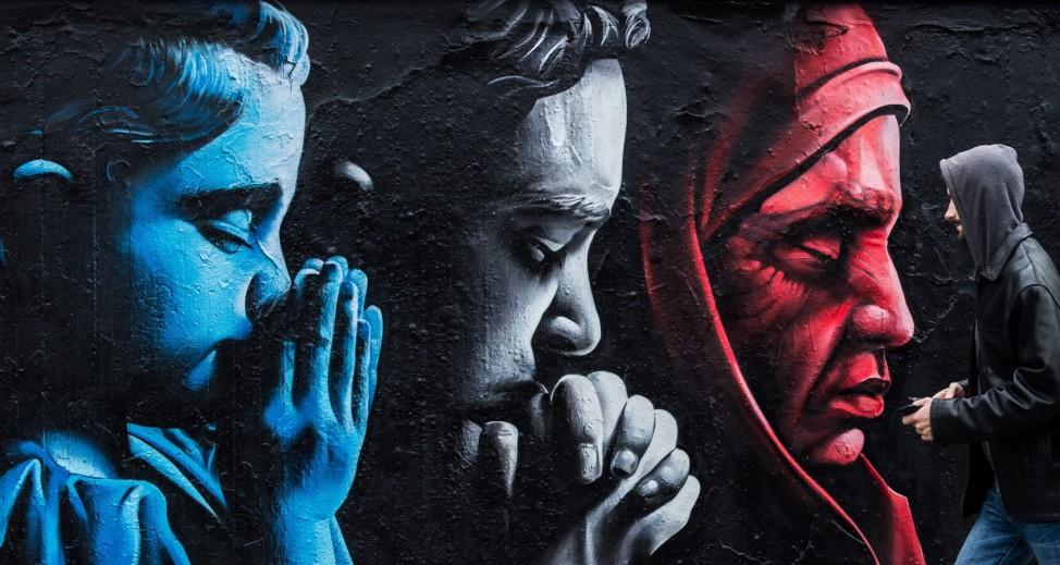 Prague, Graffiti in honour to the victims of the Paris terrorist