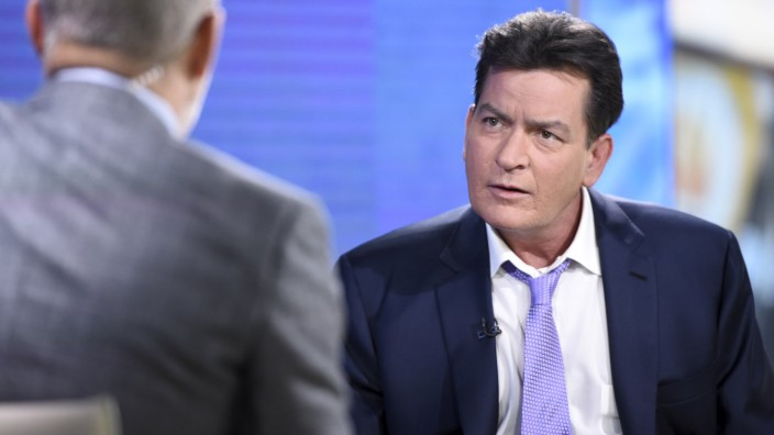 Charlie Sheen listens during an interview with host Matt Lauer on the set of NBC's 'Today' show in Manhattan