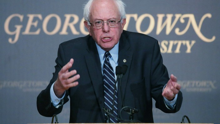 Bernie Sanders Gives Campaign Speech At Georgetown University
