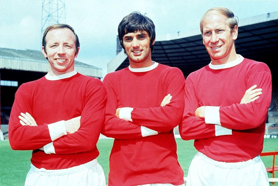 Nobby Stiles, George Best und Bobby Charlton, 1968