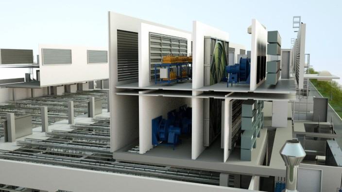 Aschheim: Auf 8000 Quadratmetern schafft Noris in Aschheim Speicherplatz für seine Kunden. Herzstück der Kühlung sind sogenannte Kyoto-Räder.