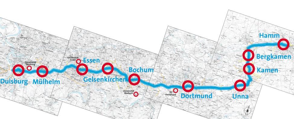 Der Verlauf des Radschnellwegs Ruhr RS1