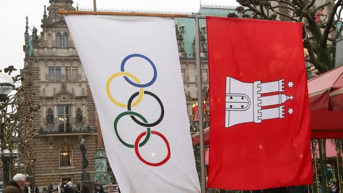 Olympia-Fahne in Hamburg
