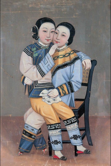 China: Two young women with bound feet in a lesbian pose, painting by Huang Dasheng, c.1885