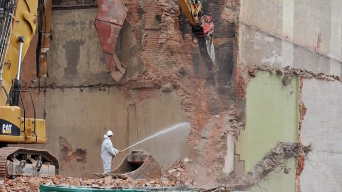 Abbrucharbeiten auf dem Paulaner Areal in München, 2014