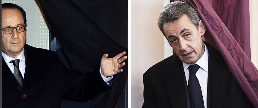Regionalwahlen in Frankreich: Dunkle Vorahnungen: François Hollande und Nicolas Sarkozy bei der Stimmabgabe am gestrigen Wahl-Sonntag