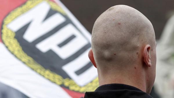 File photo of a supporter of the extreme right National Democratic Party of Germany