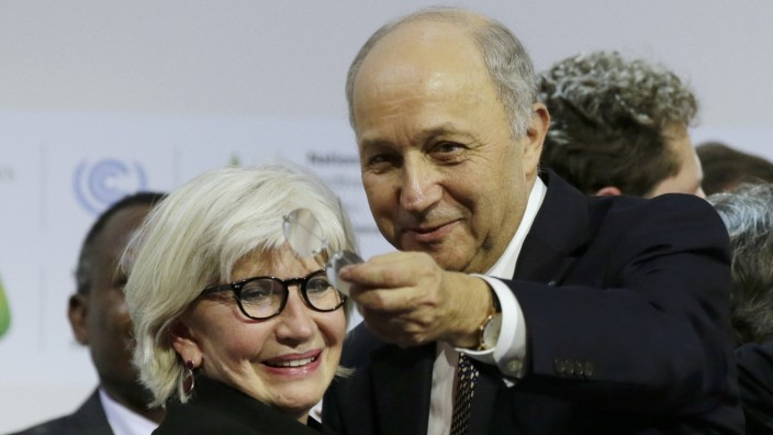 French Foreign Affairs Minister Laurent Fabius, President-designate of COP21 react at the World Climate Change Conference 2015 (COP21) at Le Bourget